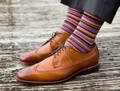 Dapper Classics: Striped Mens Socks. Just the right tones and not detracting from the beautiful shoes.