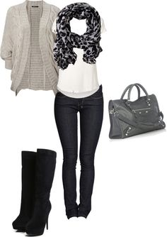 """""""Casual fall outfit."""" by kimyaertunc on Polyvore i like this a lot yet i do wish the boots were shorter"""
