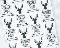 Deer Swaddle Blanket Personalized // Deer Baby Blanket Personalized Swaddle Blanket Baby Name Blanket Baby Blankets with Name- Deer Arrows