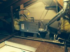 Carrier Furnace Horizontal Attic Installation Great Job Guys Ours Needs To Go In The Crawlspace Sidesplit Home Furnace Repair Furnace Furnace Installation