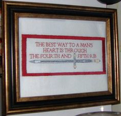 Best Way To A Man's Heart subversive cross stitch ** Inspiration only. No pattern. Cross Stitching, Cross Stitch Embroidery, Cross Stitch Patterns, Funny Embroidery, Hand Embroidery, Drops Design, Diy Broderie, Nerd, The Heart Of Man