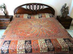 Orange Reversible Cashmere Wool India Bedding Bedspread Queen Bed Cover Blanket | eBay $112.00