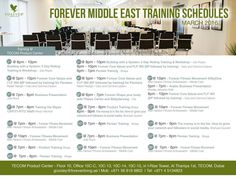 FOREVER MIDDLE EAST Training Schedules MARCH - 2016 @ Tecom Center and outdoor trainings. Schedule your trainings... Don't Miss it!!!