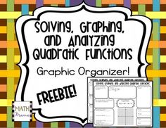 FREE:  This graphic organizer is an excellent way for students to review concepts learned during a unit on quadratics.  Learners will solve a given quadratic by factoring, completing the square, and the quadratic formula.  Additionally, they will graph and analyze the function.