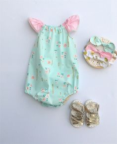 Gorgeous mint and gold Flutter Sleeve Romper, baby, girl, toddler