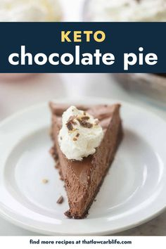 This keto chocolate pie starts with an easy chocolate almond flour crust and gets filled with a creamy, dreamy, sugar free chocolate filling. It's so rich and decadent!