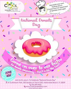 This June come to and celebrate with us the National Donuts Day. There will be lots of fun surprises and much more. come and don't miss our amazing decoration ! National Donut Day, June 4th, Donuts, Sprinkles, Cool Stuff, Decoration, Amazing, Party, Fun