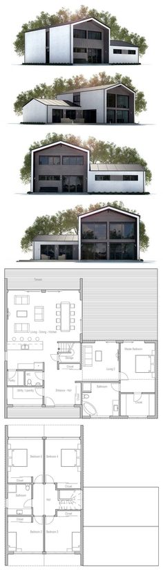 House Plan with five bedrooms.