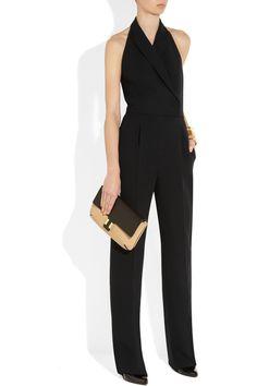 Valentino | Silk and wool-blend halterneck jumpsuit