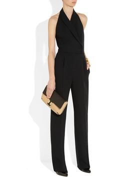 Valentino | Silk and wool-blend halterneck jumpsuit -- love me a jumpsuit!