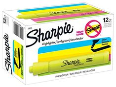 Sharpie Yellow Highlighter Accent Tank Style Chisel Tip Fluorescent Marker 12 Ct Sharpie Highlighter, Liquid Highlighter, Highlighters, Writing Correction, Pink Highlights, Office And School Supplies, Teacher Appreciation Gifts, Cards