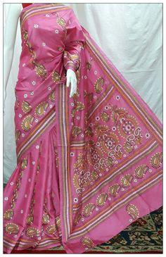 Kantha embroidery saree