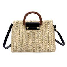 f4f93998e6 loomrack Crossbody Top Handle Straw Messenger Bag Top-Handle Bags Beige  Straw Handbags