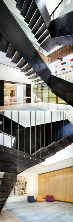 Industrial-looking stairs made from steel connect the various levels of this modern home. The Floating Box House designed by architect Peter Gluck, has been listed for sale in Austin, Texas. Box House Design, Design Your Dream House, Home Gym Bench, Home Library Design, Best Home Gym, Modern Stairs, Box Houses, Built In Bookcase, Industrial House