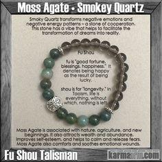 MANTRA: I will go confidently in the direction of my dreams. - 8mm Smokey Quartz Natural Gemstones - 8mm Green Moss Agate Natural Gemstones - Tibetan Silver Fu Shou Talisman - Tibetan Silver Rondelles
