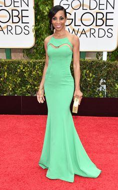 2015 Golden Globes Red Carpet Arrivals Shaun Robinson, Golden Globes #arrivals #green @sarahheartsdesign