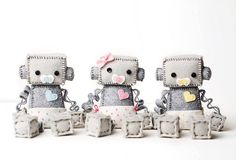 Baby Robot in a Diaper with Pacifier Pick Boy or Girl - Pink, Blue or Yellow, Geek Baby Robot Nursery Decor Gift