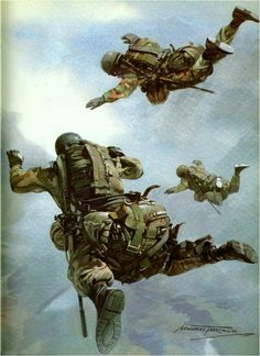 Depiction of SAS Parachute insertion during the Falklands war. Airborne Army, Airborne Ranger, Military Gear, Military History, Beret Rouge, Military Drawings, British Armed Forces, Falklands War, Military Special Forces
