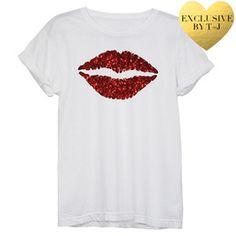 Red Lips Glitter Tee