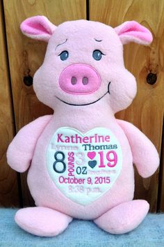 Monogrammed Baby Gift Embroidered Pig Made in USA - EXCULUSIVELY offered by PERSONALIZED by World Class Embroidery