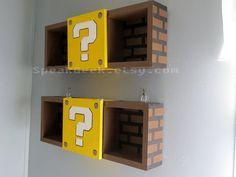 Super Mario Bros Shelf – Shadow Box Shelf – Modern Question Mark Block – Hand Made – Hand Painted – MADE TO ORDER Mario shelves, set of Perfect for Super Mario Nursery or Princess Peach Nursery!