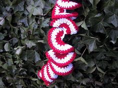 Peppermint Twist Scarf Pattern.  I make several of these a year to give/sell during the Christmas season.  (I use yarn with a bit of sparkle or metallic thread in it)