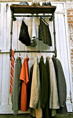 Industrial Garment Rack Hanging by stellableudesigns on Etsy