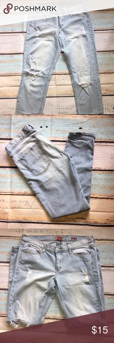 Boho Distressed Boyfriend Jeans Distressed Boyfriend Jeans. These jeans are blue with white stripes and are perfectly distressed. You can wear them rolled up at the bottom with your favorite booties. Conductor style color and stripes. Size 11. Made by Arizona Jeans. Inseam and rise measurements in the pics. Arizona Jean Company Jeans Boyfriend