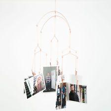 Kikkerland Copper Photo Clip Hanging Mobile Picture Frame Kinetic Art
