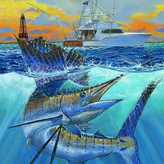 Sailfish Painting - Reef Cup 2017 by Carey Chen Sport Fishing, Fly Fishing, Marlin Azul, Fish Artwork, Underwater Painting, Werewolf Art, Mobile Legend Wallpaper, Fish Drawings, Types Of Fish