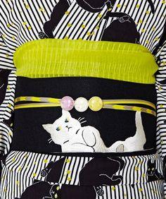 Kimono and obi. cat pattern.