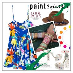 """paint splatter"" by ainzme ❤ liked on Polyvore featuring Kat Maconie, Nick Fouquet, Therapy, Flash Tattoos and paintsplatter"
