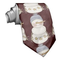 Brown Christmas Snowman Holiday tie