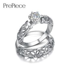 PrePiece Brand Top CZ Crystal Engagement Wedding Rings Sets For Women Jewellery White Gold Color Wedding Bands Hot Anel PUR0130