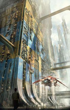 Tagged with cyberpunk; Shared by Cyber punk Ville Cyberpunk, Cyberpunk City, Futuristic City, Fantasy Landscape, Sci Fi Fantasy, Fantasy World, Fantasy Art Landscapes, Arte Sci Fi, Art Science Fiction