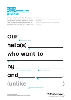 Value Proposition Template - Good to get you started Business Branding, Business Design, Business Tips, Employer Branding, Business Model Template, Online Business, Marca Personal, Personal Branding, Design Thinking