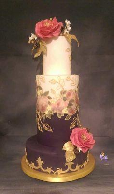 Purlple & Fuchia Guilded wedding cake hand painted, all sugar flowers- Cake by MySugarFairyCakes