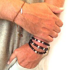 Bracelet pour homme  The One et Wood, Coton tissé ou perles de bois avec bijoux en acier inoxydable
