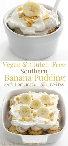 A homemade, from-scratch, Southern Vegan Banana Pudding! This gluten-free, allergy-free, sugar-free twist on the old-fashioned no-bake dessert! Fluff Desserts, Köstliche Desserts, Sugar Free Desserts, Delicious Desserts, Vegan Banana Pudding, Vanilla Pudding Recipes, Banana Dessert Recipes, Pavlova, Pampered Chef