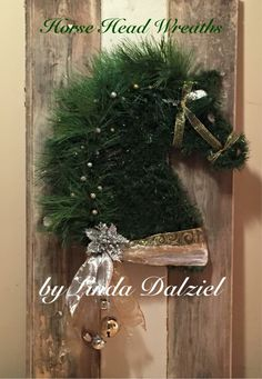 Hand woven faux garland: Horse Head Wreaths by Linda Dalziel/Facebook