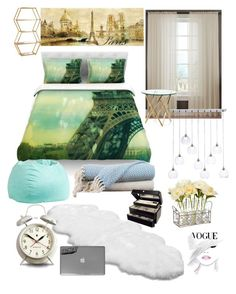 """""""Paris Teen Girl Room"""" by shawnmendes10 ❤ liked on Polyvore featuring interior, interiors, interior design, home, home decor, interior decorating, Kess InHouse, PBteen, UGG Australia and Vanguard"""