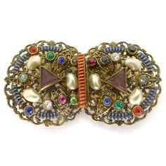 Vintage Art Deco Czech Filigree Pearl Rainbow Paste Enamel Buckle | Clarice Jewellery | Vintage Costume Jewellery