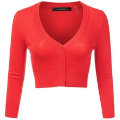 JJ Perfection Women's Solid Woven Button Down 3/4 Sleeve Cropped... ❤ liked on Polyvore featuring tops, cardigans, three quarter sleeve tops, red cropped cardigan, button down cardigan, red top and 3/4 sleeve cardigan