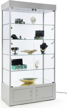 """41"""" Display Case w/ 9 LED Lights, Mirror Bottom, Enclosed Cabinet, Locking - Silver"""