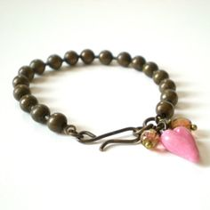 ball chain stacking bracelet pink heart bracelet by jcudesigns, £12.00