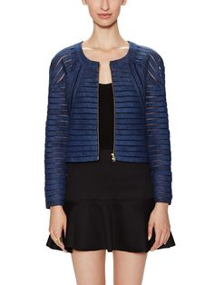 Denim Mesh Striped Jacket by Cynthia Rowley at Gilt