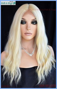 LACE FRONT DEEP MIDDLE LACE PART LONG WAVY HEAT FRIENDLY WIG CLR 613 SEXY 1258 #sepia
