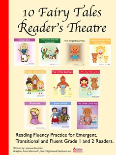 10 reader's theatre scripts for common fairy and folk tales with parts for emergent, transitional and fluent Grade 1 and 2 readers. A list of approximate reading levels for each part and the common core standards addressed in this resource are provided. Also includes follow-up reader response worksheets and organizers for students to write their own fractured fairy tale and/or script.