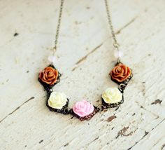 Flower Necklace - Spring Line 2012 - Floral Necklace - Shabby Chic Jewelry -Rose Necklace - Bohemian. $30.00, via Etsy.