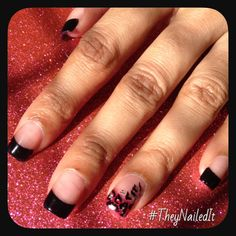 My Nail Artist's latest Creation of my Nail Design Dreams: Black French Manicure Dark Pink Ring Finger Detail-Black&Silver Leopard Print #TheyNailedIt #NailDesign #NailArt #RingFinger #Leopard #mrsteeh